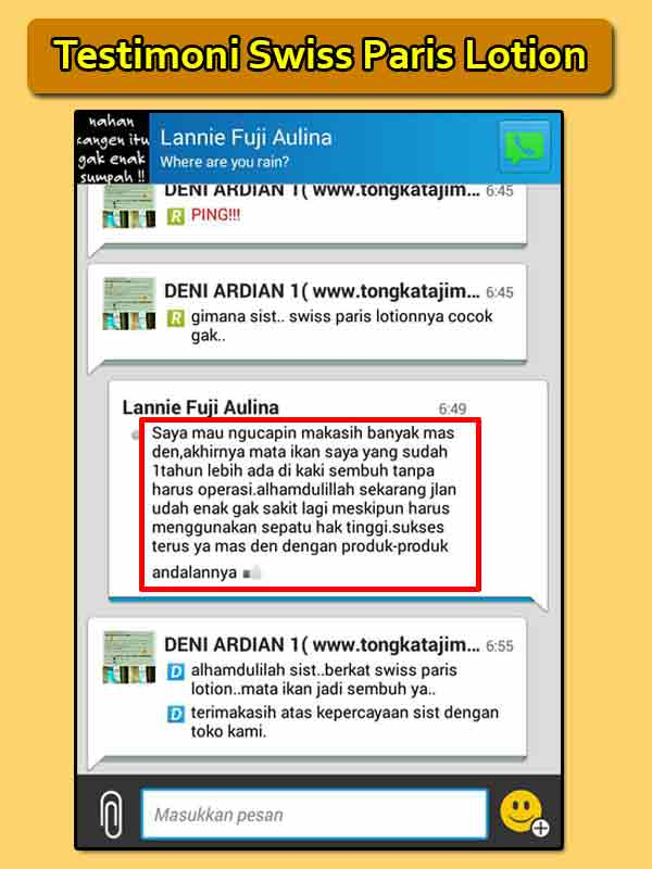 Testimoni Swiss Paris Lotion